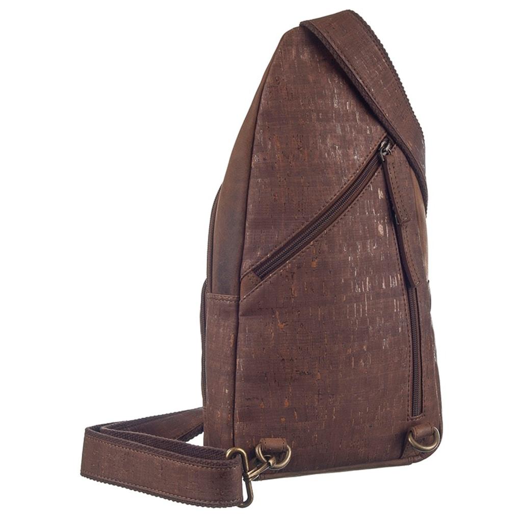 GreenLand Nature Cityrucksack »NATURE Leather-Cork«, Rechtsseitig oder linksseitig tragbar