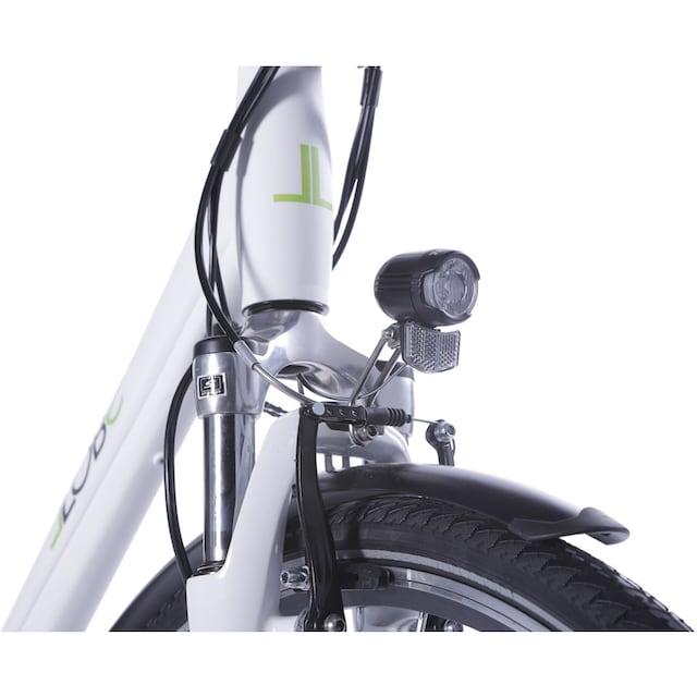 LLobe E-Bike »Metropolitan JOY weiß 8Ah«, 3 Gang Nabenschaltung, Frontmotor 250 W