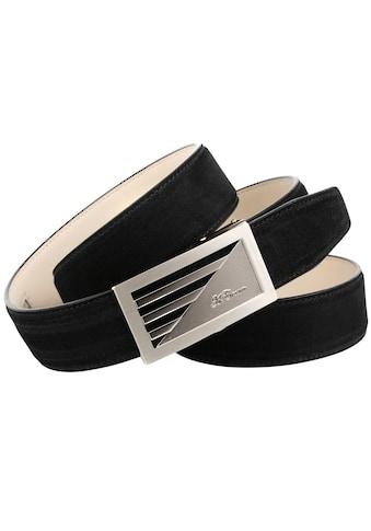 Anthoni Crown Ledergürtel, aus Veloursleder, Schwarz kaufen