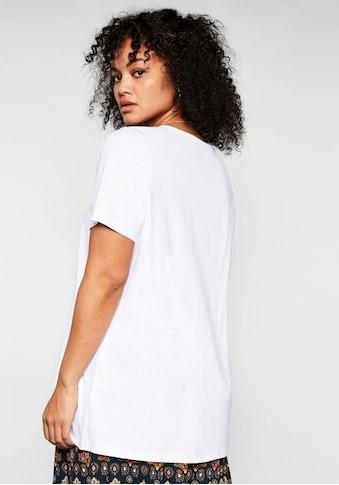 Sheego T-Shirt, mit Raffung und Häkelspitze kaufen