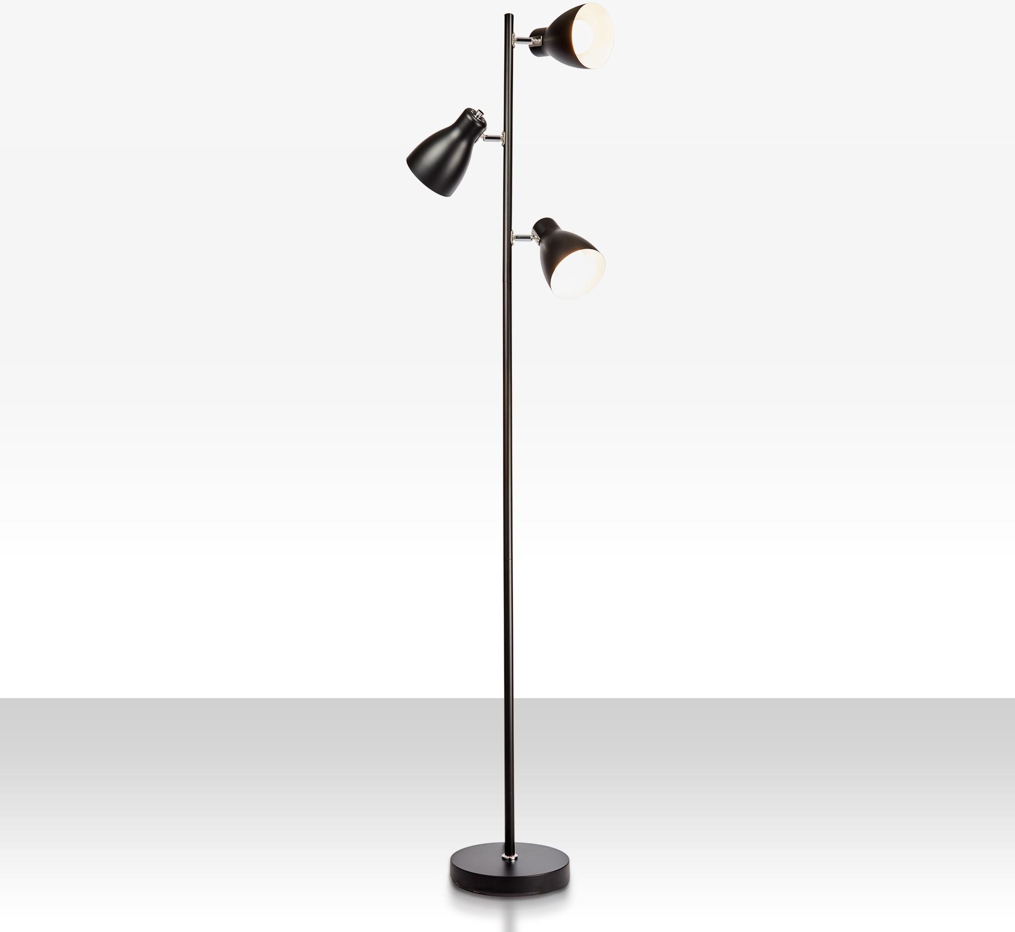 B.K.Licht Stehlampe, E27, LED Design Stehleuchte Metall Deckenfluter Leuchte schwenkbar E27 schwarz