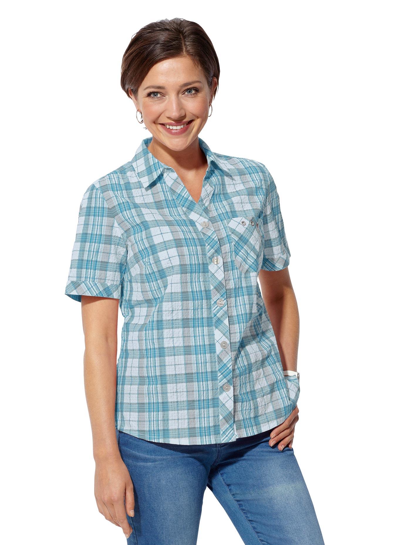 Classic Basics Bluse in bügelfreier Seersucker-Qualität