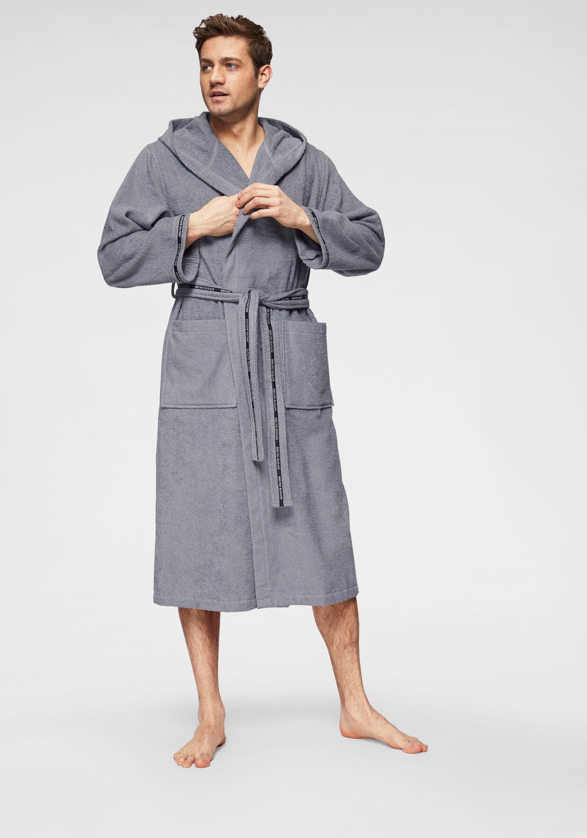 Herrenbademantel Danny Bruno Banani | Bekleidung > Wäsche > Bademäntel | Grau | Baumwolle | Bruno Banani