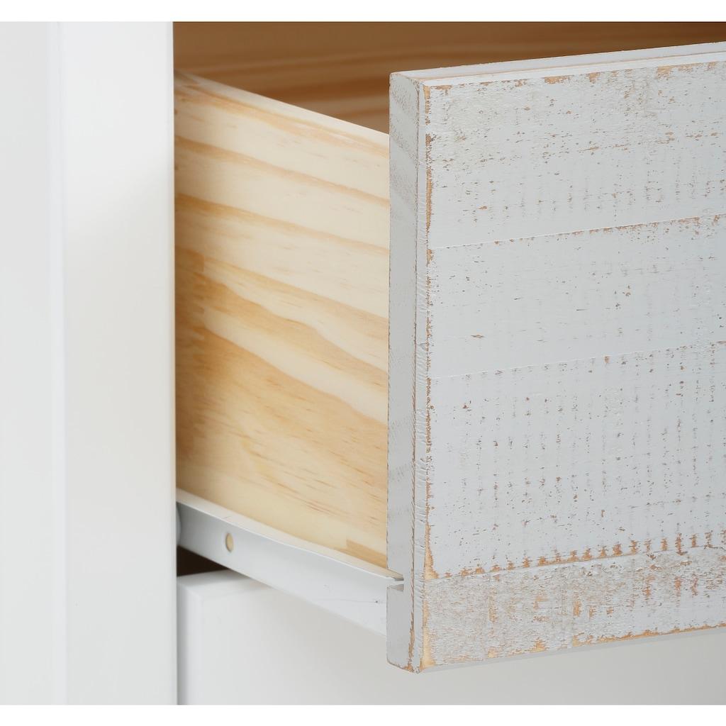 Home affaire Nachtkommode »Pilatus«, erstrahlt in schöner Holzoptik, mit gebürsteter Schubkastenfront, Breite 45 cm
