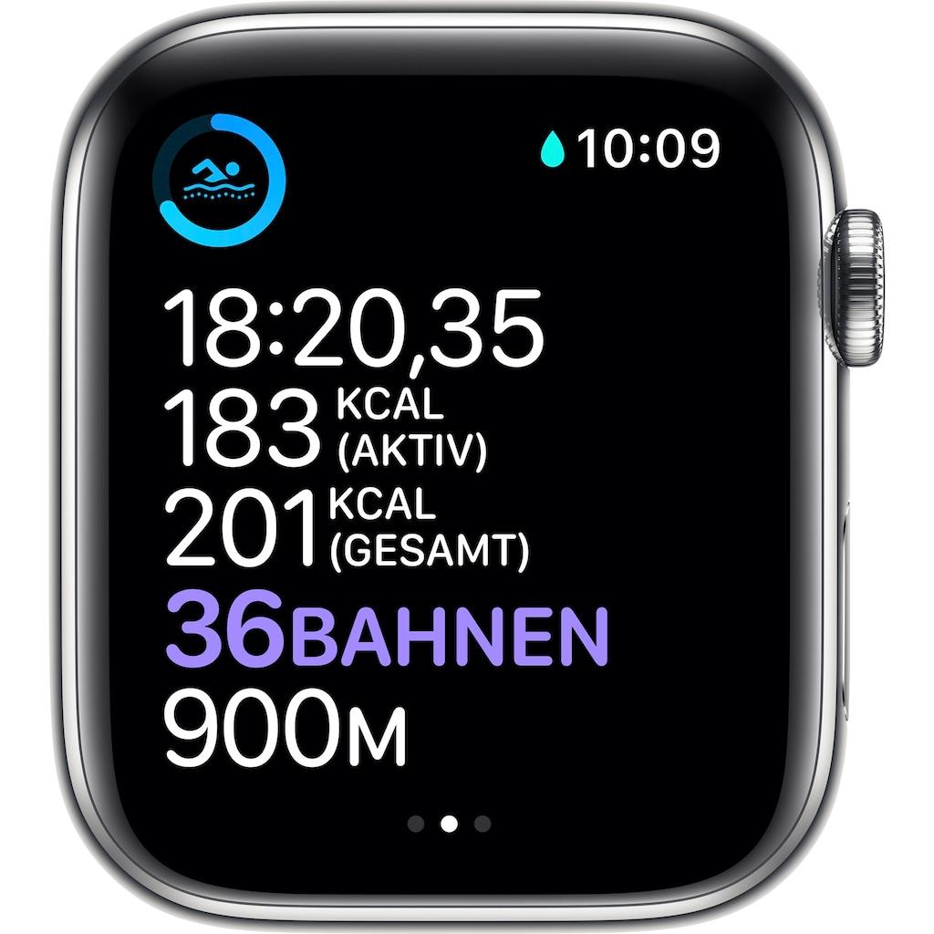 Apple Watch »Series 6 GPS + Cellular, Edelstahlgehäuse mit Milanaise Armband 44mm« (, Watch OS, inkl. Ladestation (magnetisches Ladekabel)