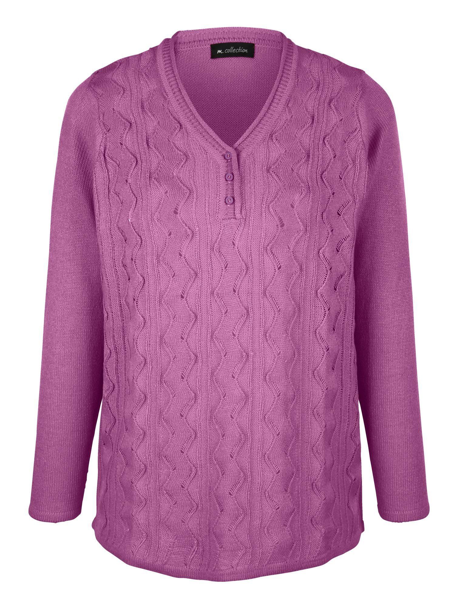 m. collection - m collection Pullover mit streckendem Längsstrick- und Ajourmuster