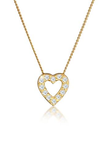 Elli Collierkettchen »Herz Klassisch Diamant (0.18 ct.) 585 Gelbgold« kaufen