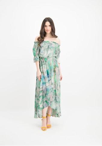 Nicowa Kleid NERMINI mit Carmenaussschnitt und Batik - Muster kaufen