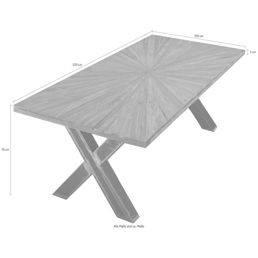 SIT Esstisch »Romanteaka«, mit sonnenförmig gemusterter Tischplatte, Shabby Chic, Vintage