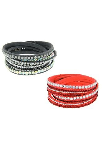 La Piora Armband »Armband Set«, Wickelarmbänder koralle & grau kaufen