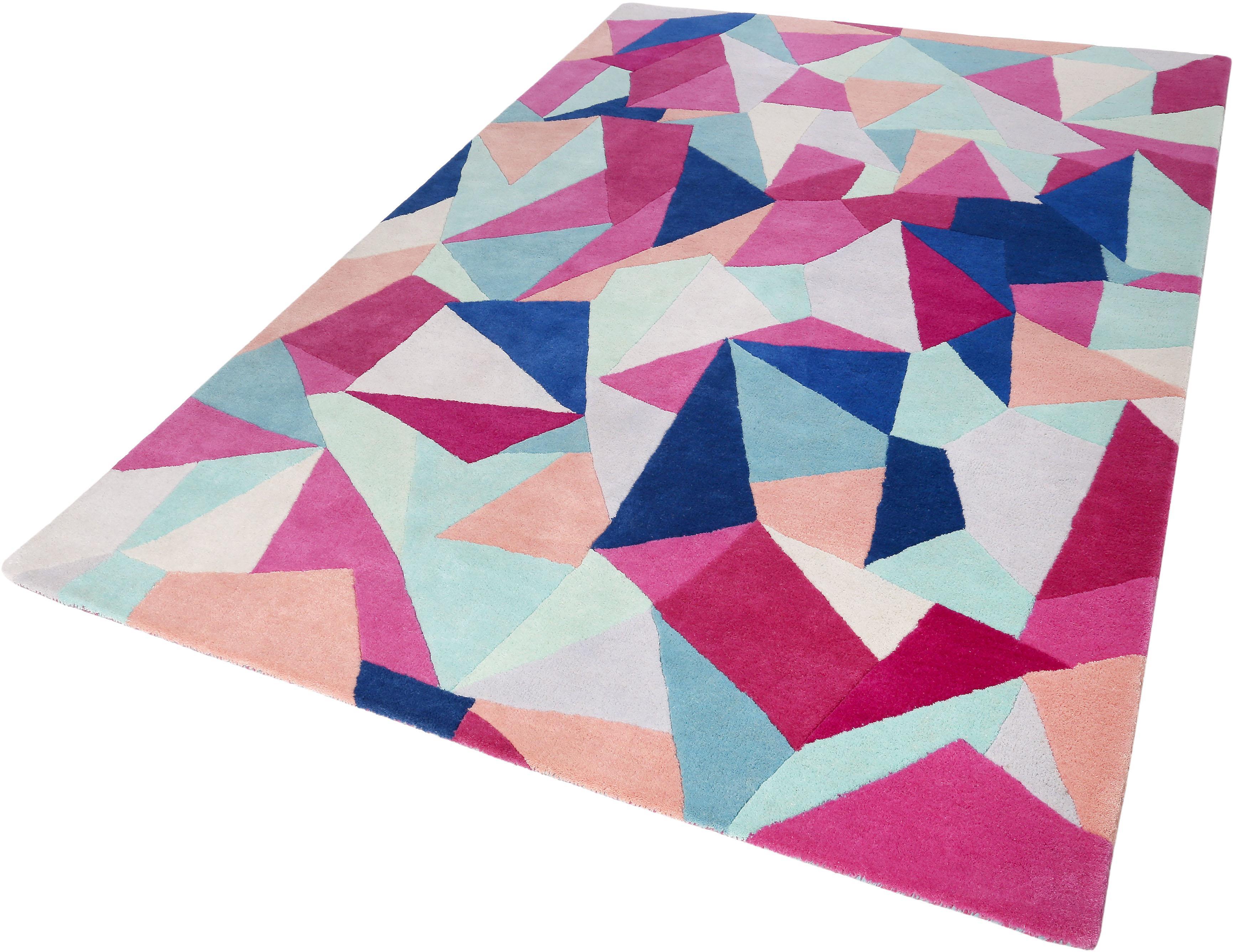 Wollteppich Triangulum Accessorize Home rechteckig Höhe 16 mm handgetuftet