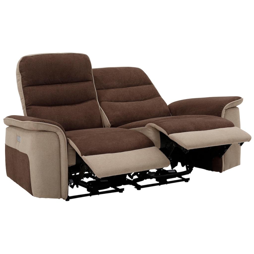 DELAVITA 2-Sitzer »Maldini«, mit hohem Sitzkomfort, elektrischer Relaxfunktion und USB-Anschluss, Breite 166 cm