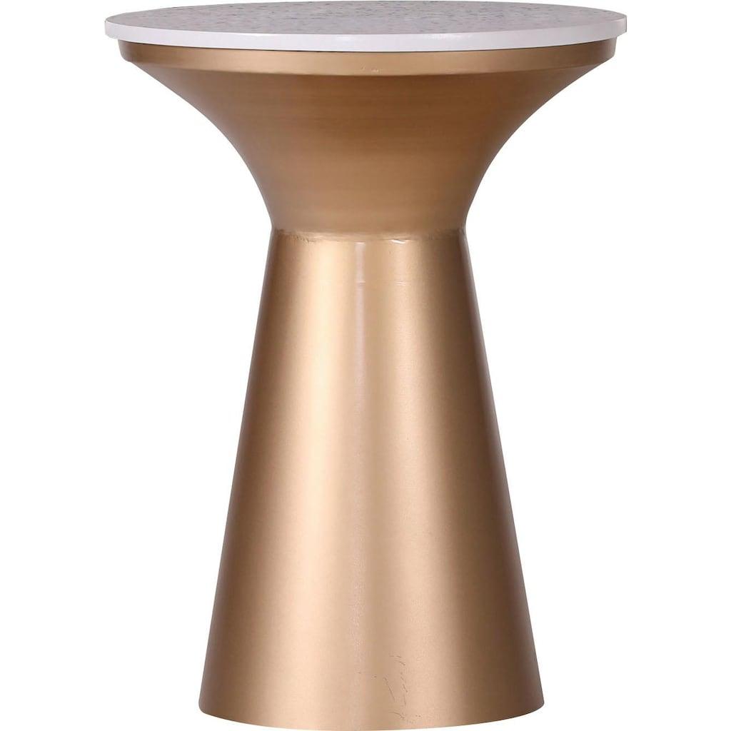 Leonique Beistelltisch »Menton«, mit goldfarbenem Gestell und Terazzo Platte, in elegantem Design