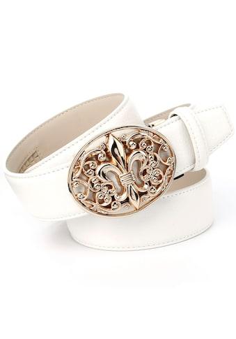 Anthoni Crown Ledergürtel, mit Lilie und Ornamenten kaufen