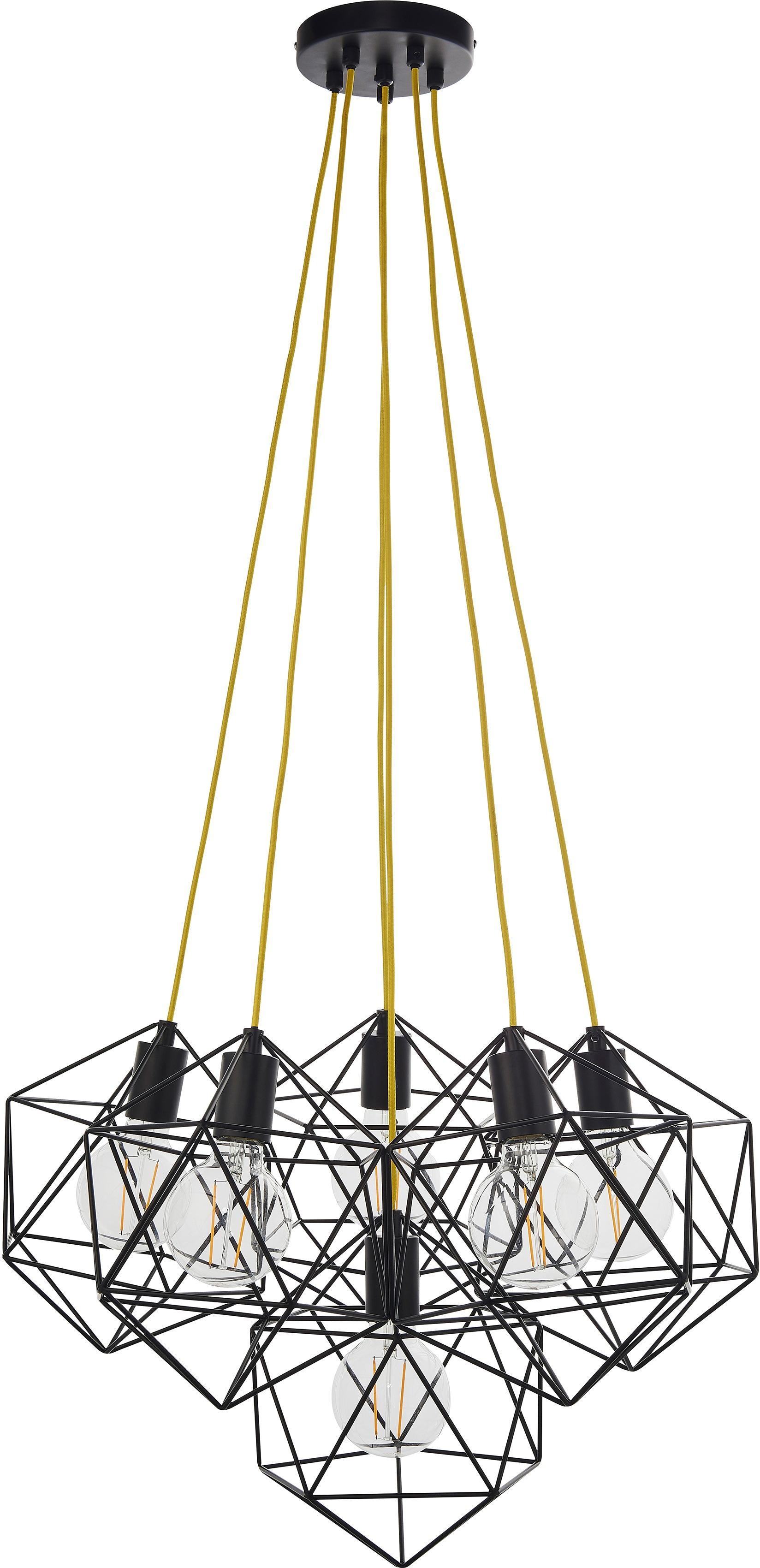 Brilliant Leuchten Pendelleuchte Amelita, E27, 1 St., Pendelleuchte, 6-flammig, messing antik
