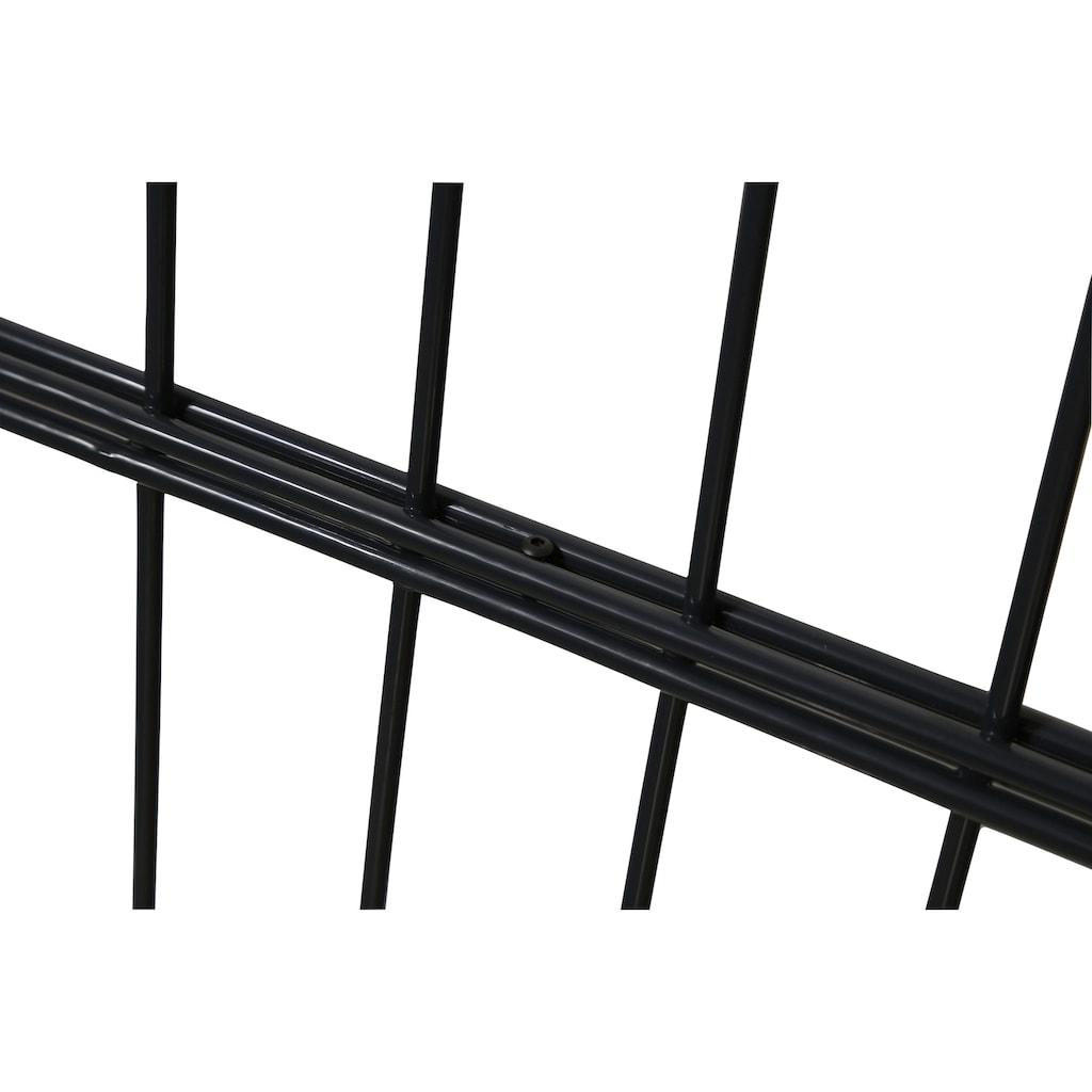 HOME DELUXE Doppelstabmattenzaun, 40 cm hoch, 5 Matten für 10 m Zaun, mit 6 Pfosten