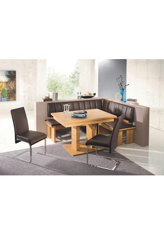 SCHÖSSWENDER Eckbankgruppe »Falco«, Eckbank umstellbar, Säulentisch mit Schiebeplattenfunktion 120(160) cm kaufen