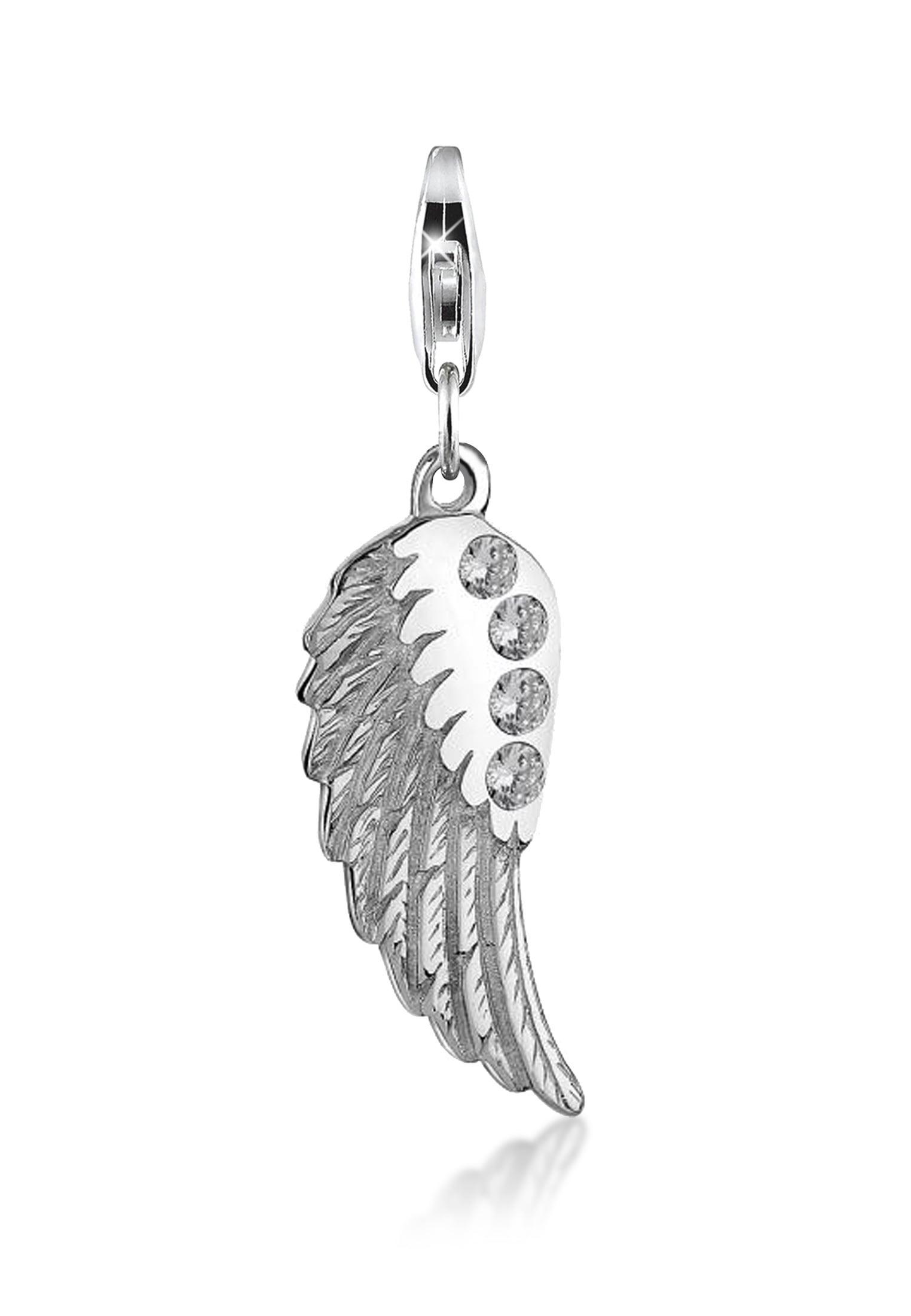 Nenalina Charm-Einhänger Anhänger Flügel Zirkonia Glücksbringer 925 Silber | Schmuck > Charms > Charms Anhänger | Nenalina