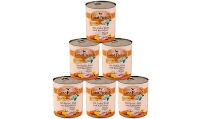 LANDFLEISCH Nassfutter »Junior Huhn, Ente und Kartoffel«, (6), 6 Dosen á 800 g kaufen