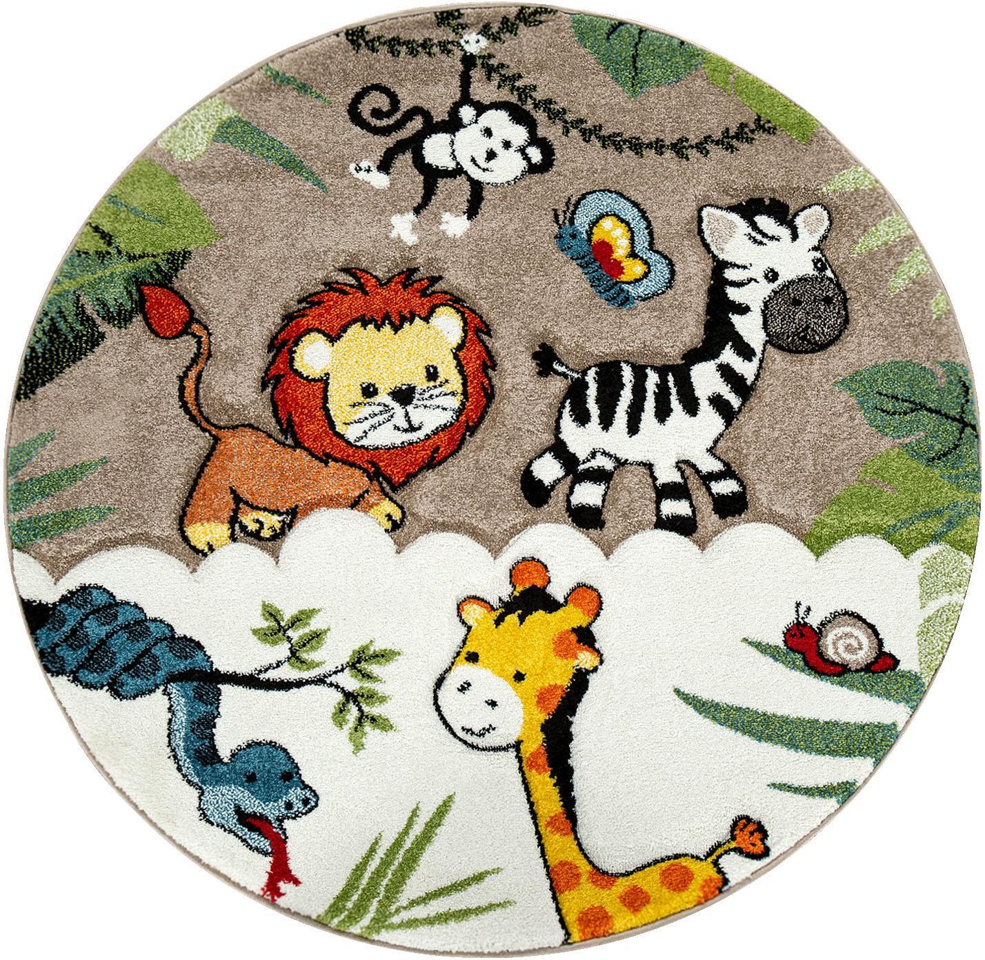 Paco Home Kinderteppich Diamond 644, rund, 18 mm Höhe, Kurzflor, 3D-Design Dschungel Tiere, Kinderzimmer beige Kinder Bunte Kinderteppiche Teppiche