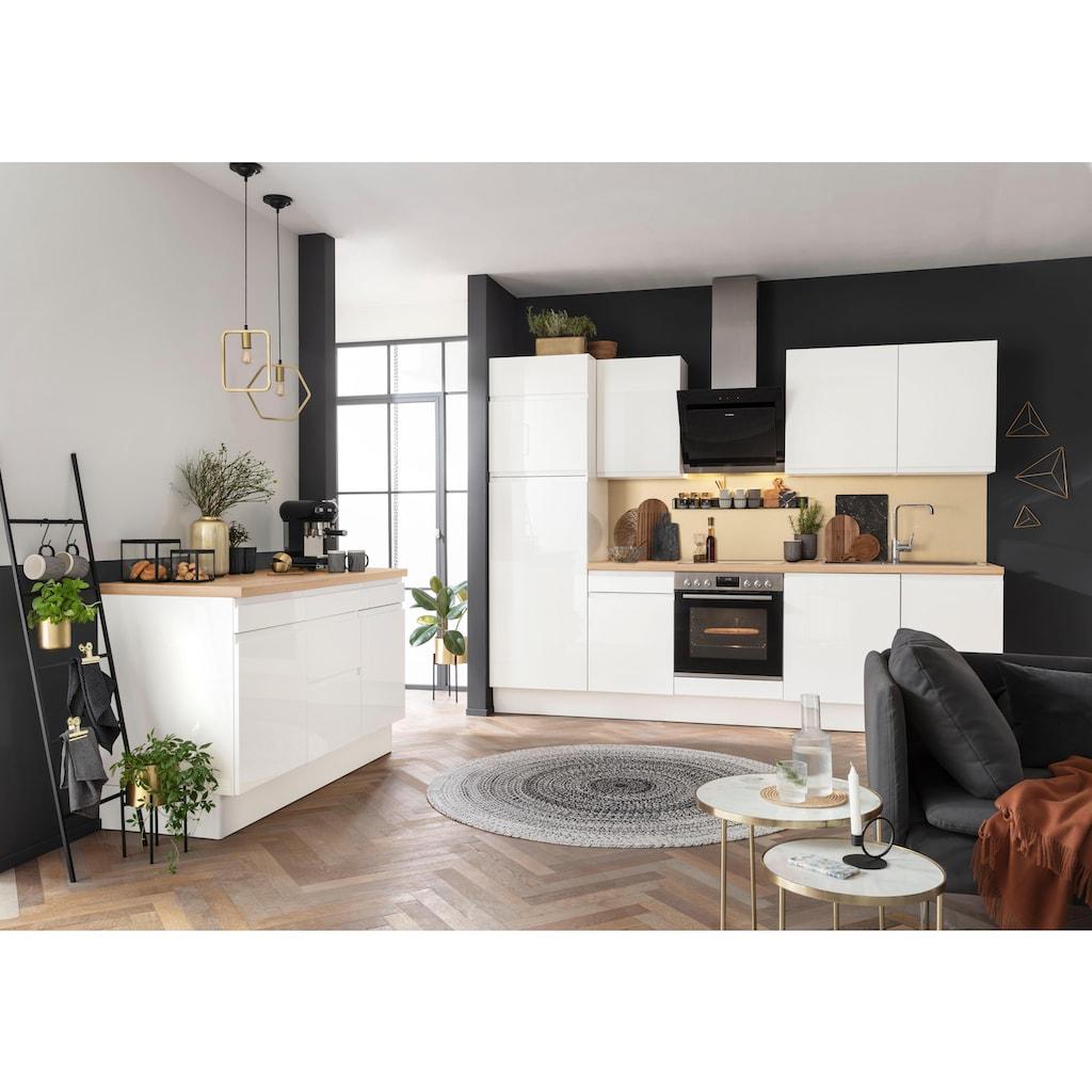 OPTIFIT Küchenzeile »Avio«, Premium-Küche, ohne E-Geräte, mit Soft-Close-Funktion, Vollauszug, 38 mm starker Arbeitsplatte und hochwertigen Hochglanz-Fronten, Breite 280 cm