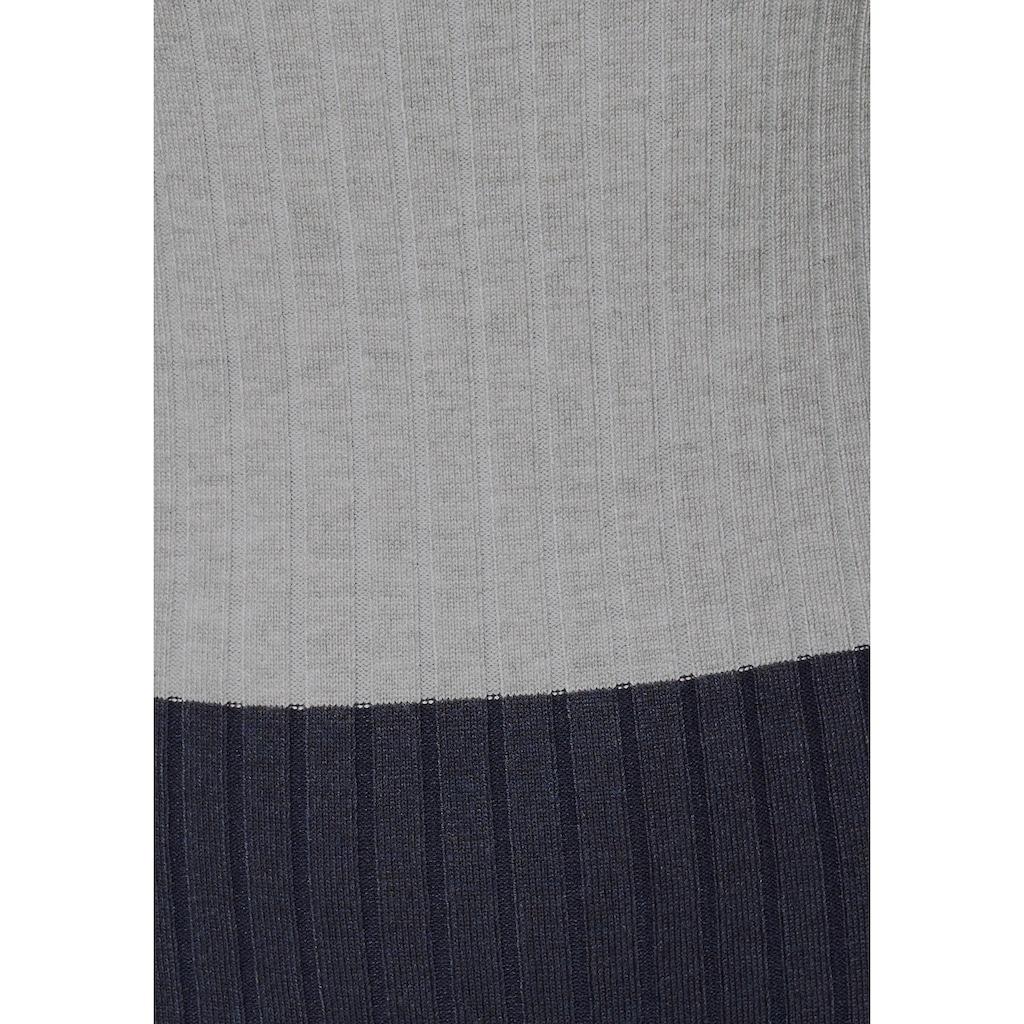 KangaROOS Strickkleid, in Rippstrick und Colorblocking-Optik