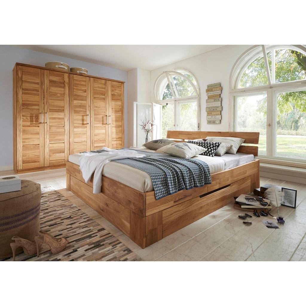 Premium collection by Home affaire Massivholzbett »Tommy«, aus massiver Wildeiche, in unterschiedlichen Breiten, Balkenbett, Futonbett