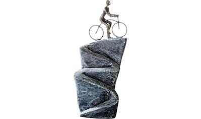 Casablanca by Gilde Dekofigur »Skulptur Aufwärts«, Dekoobjekt, Höhe 37 cm, Fahrradfahrer, antikfinish, mit Spruchanhänger, Wohnzimmer kaufen