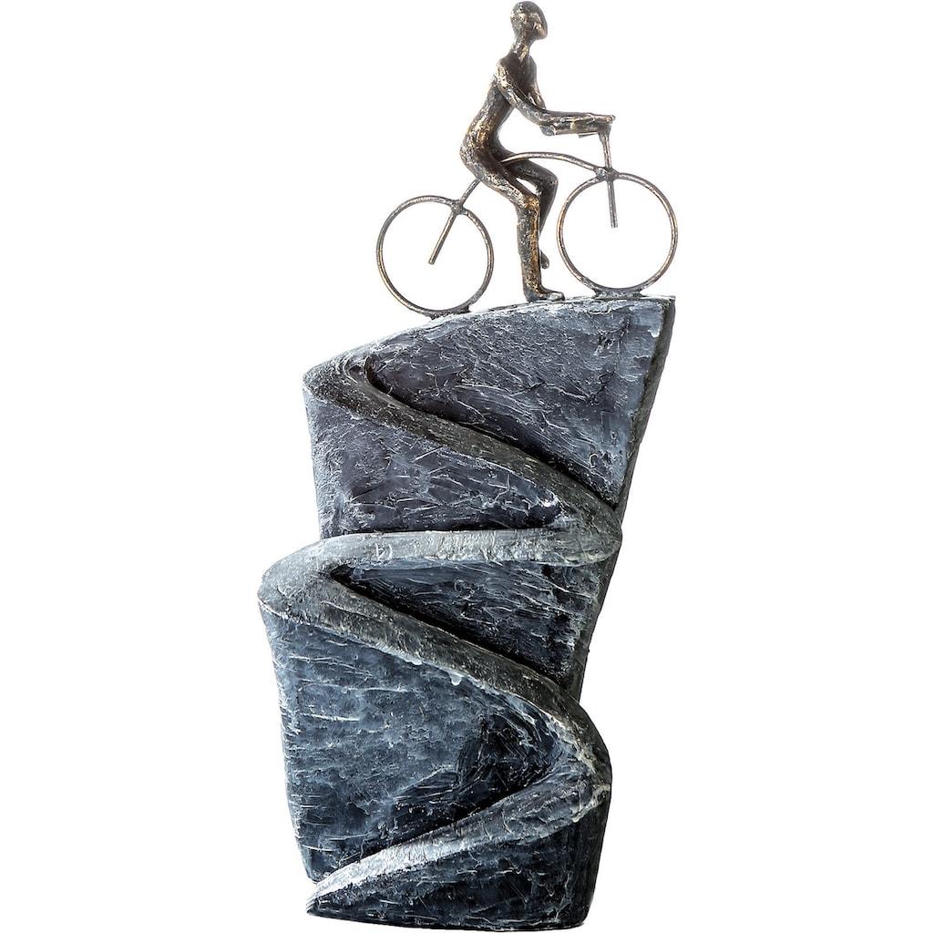 Casablanca by Gilde Dekofigur »Skulptur Aufwärts«, Dekoobjekt, Höhe 37 cm, Fahrradfahrer, antikfinish, mit Spruchanhänger, Wohnzimmer