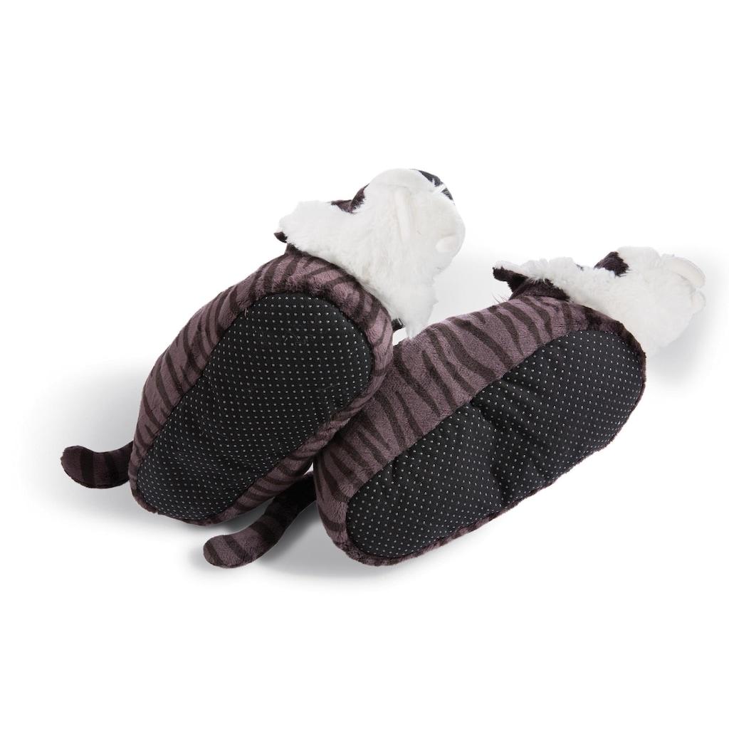 Nici Plüsch Hausschuhe »Säbelzahntiger«, mit Tiger-Muster