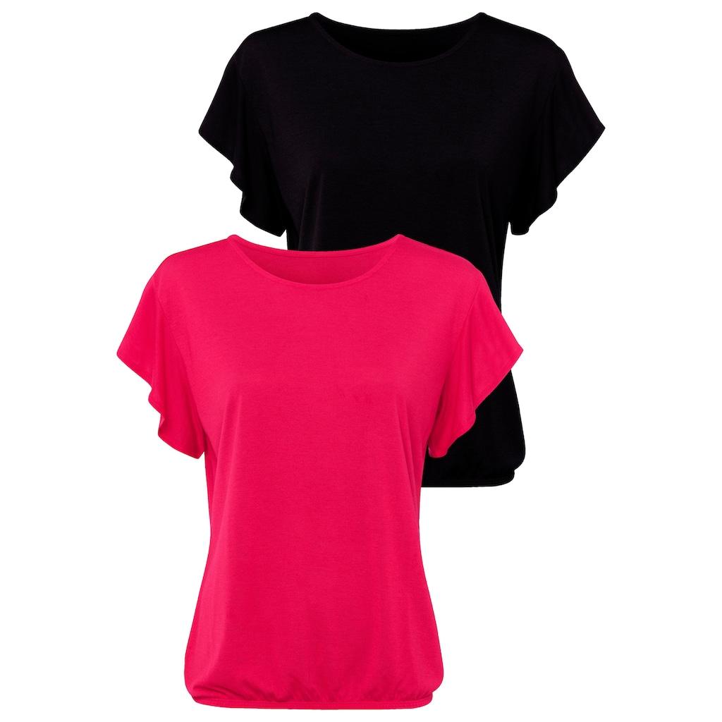 LASCANA T-Shirt, mit kurzen Volantärmelchen