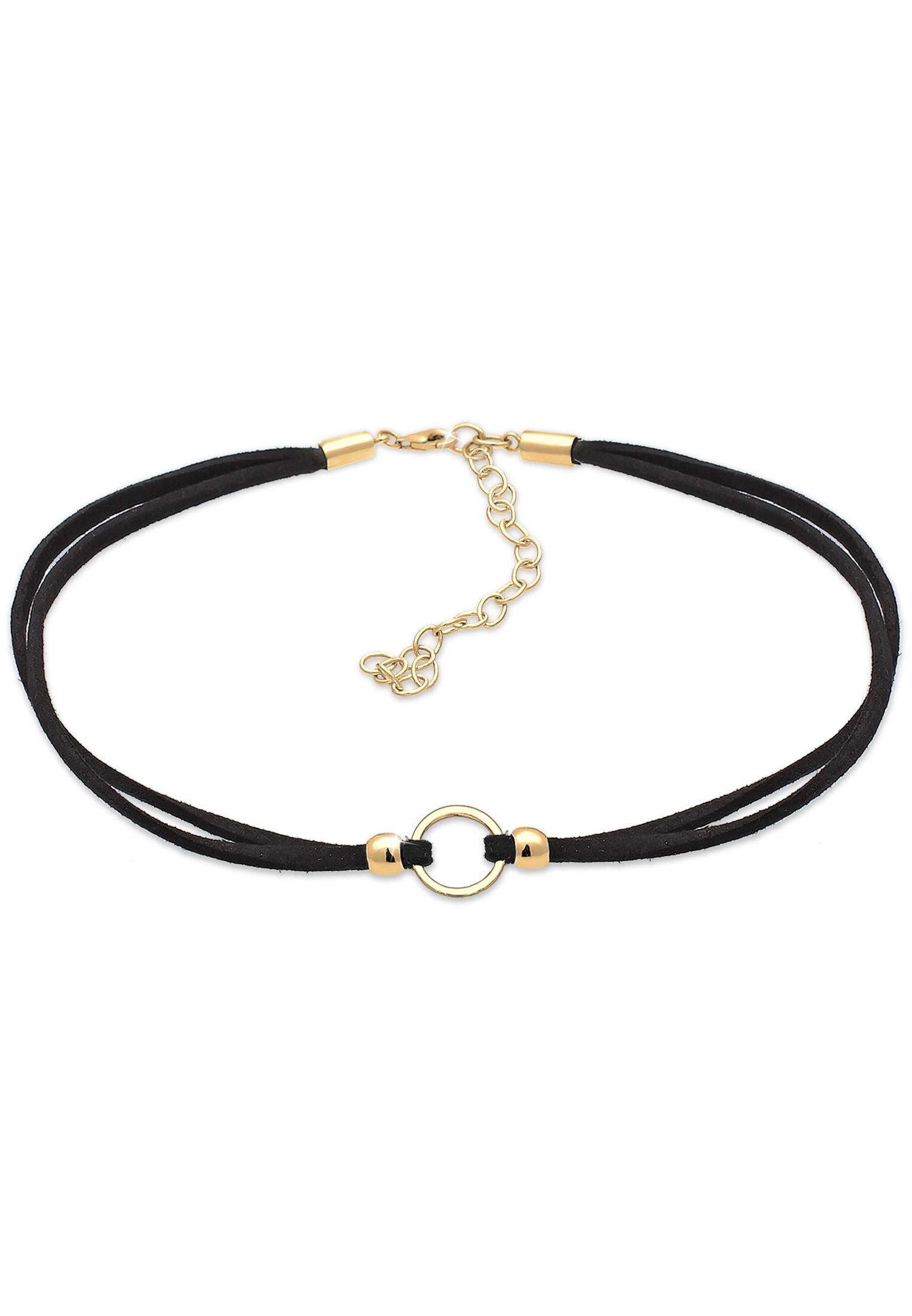 Elli Collierkettchen Halsband schwarz Choker mit Kreis 925 Silber | Schmuck > Halsketten > Halsbänder | Goldfarben | Elli