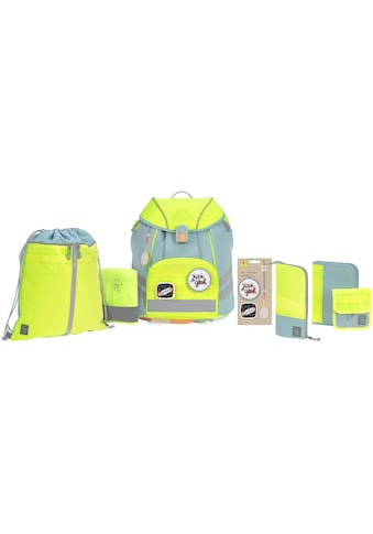 Lässig Schulranzen »Unique, blue/neon-yellow«, Reflektoren, inkl. Patches kaufen