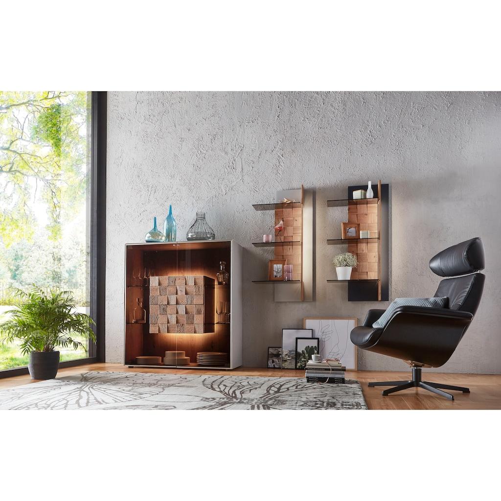 LEONARDO Highboard »LIV«, Massivholzkacheln enthalten, Höhe 128 cm, wahlweise mit Mattglas in blau oder grau