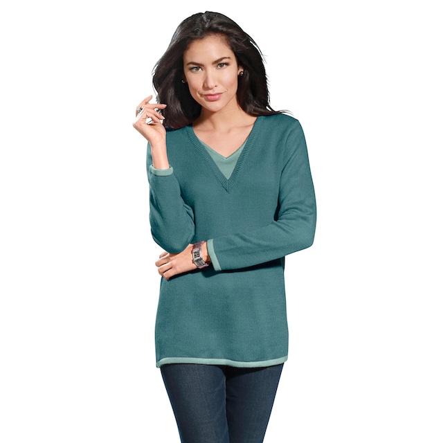 Classic Basics Pullover mit kontrastfarbenem Einsatz am V-Ausschnitt