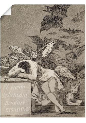 Artland Wandbild »Schlaf der Vernunft gebiert Ungeheuer«, Mann, (1 St.), in vielen... kaufen