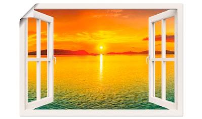 Artland Wandbild »Fensterblick - Sonnenuntergangspanorama«, Fensterblick, (1 St.), in... kaufen
