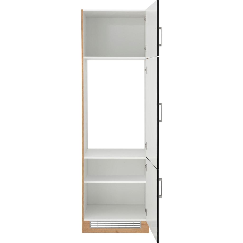 HELD MÖBEL Kühlumbauschrank »Tinnum«, 60 cm breit, 200 cm hoch, Metallgriffe, MDF Fronten, für Einbau-Kühlschrank mit Nischenmaß 88 cm
