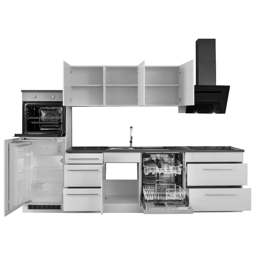 HELD MÖBEL Küchenzeile »Trient«, mit E-Geräten, Breite 300 cm mit Stangengriffen aus Metall