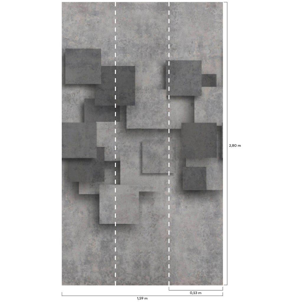 Bodenmeister Fototapete »3d Effekt Beton grau«