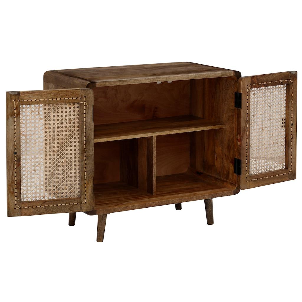 Home affaire Sideboard »Snug«, aus Rattan-Geflecht und massivem Mangoholz, schöne abgerundete Ecken, Breite 81 cm