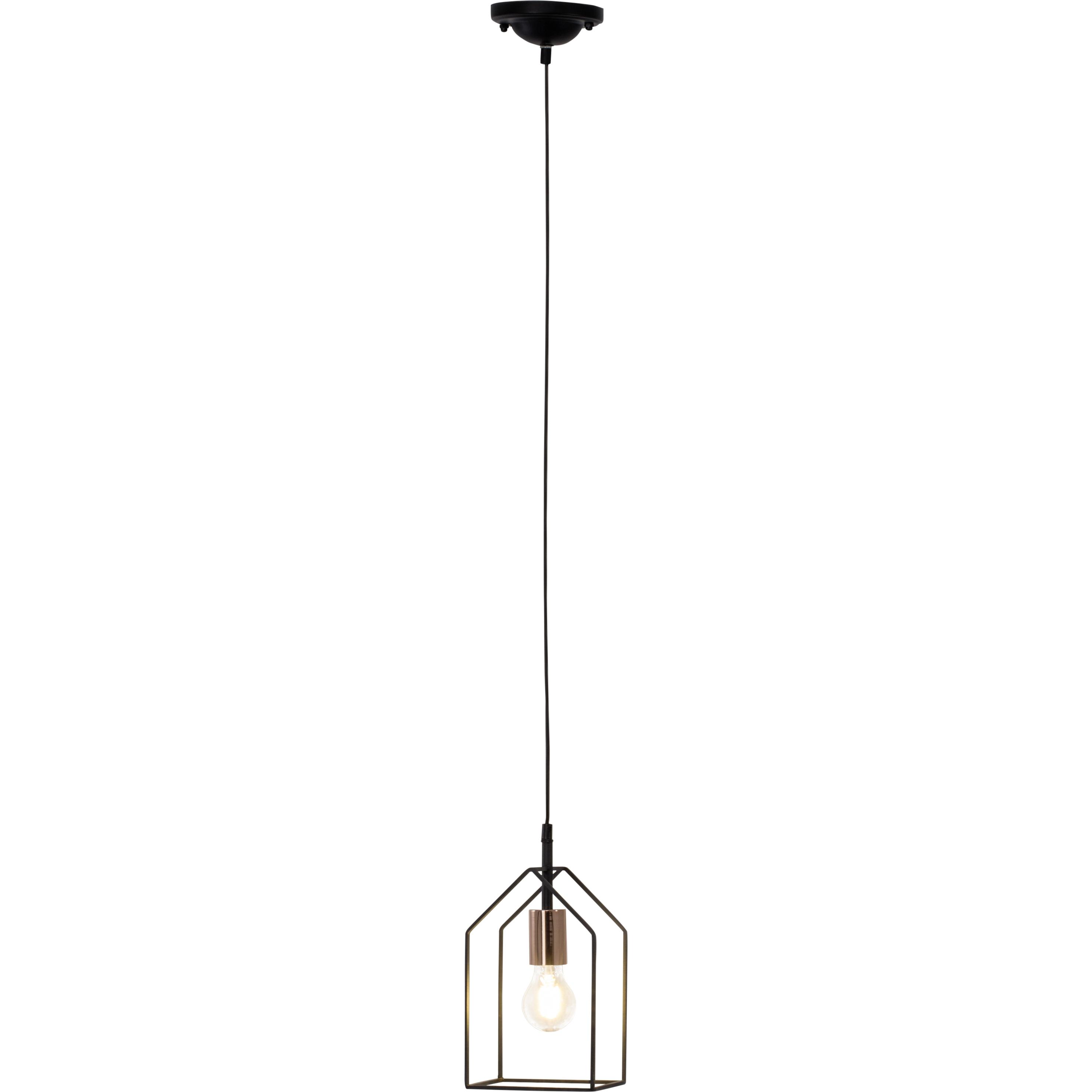 Brilliant Leuchten Home Pendelleuchte 15x15cm schwarz/kupfer