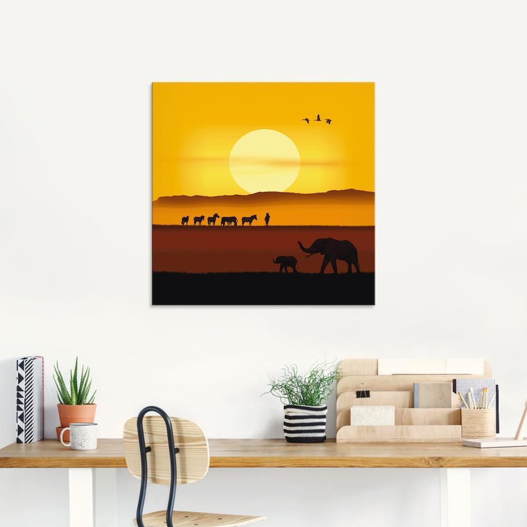 Artland Glasbild »Ein Morgen in der afrikanischen Savanne«, Wildtiere, (1 St.)