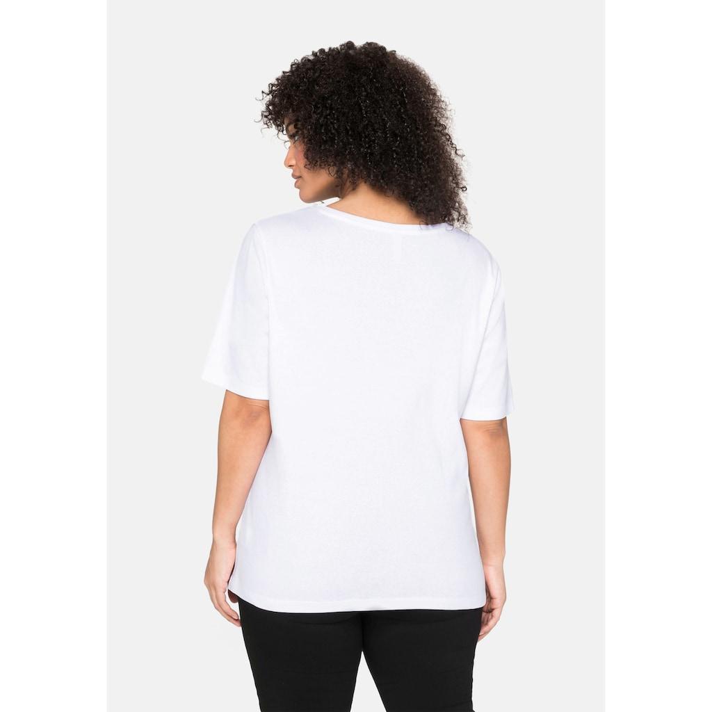 Sheego T-Shirt, aus reiner Baumwolle