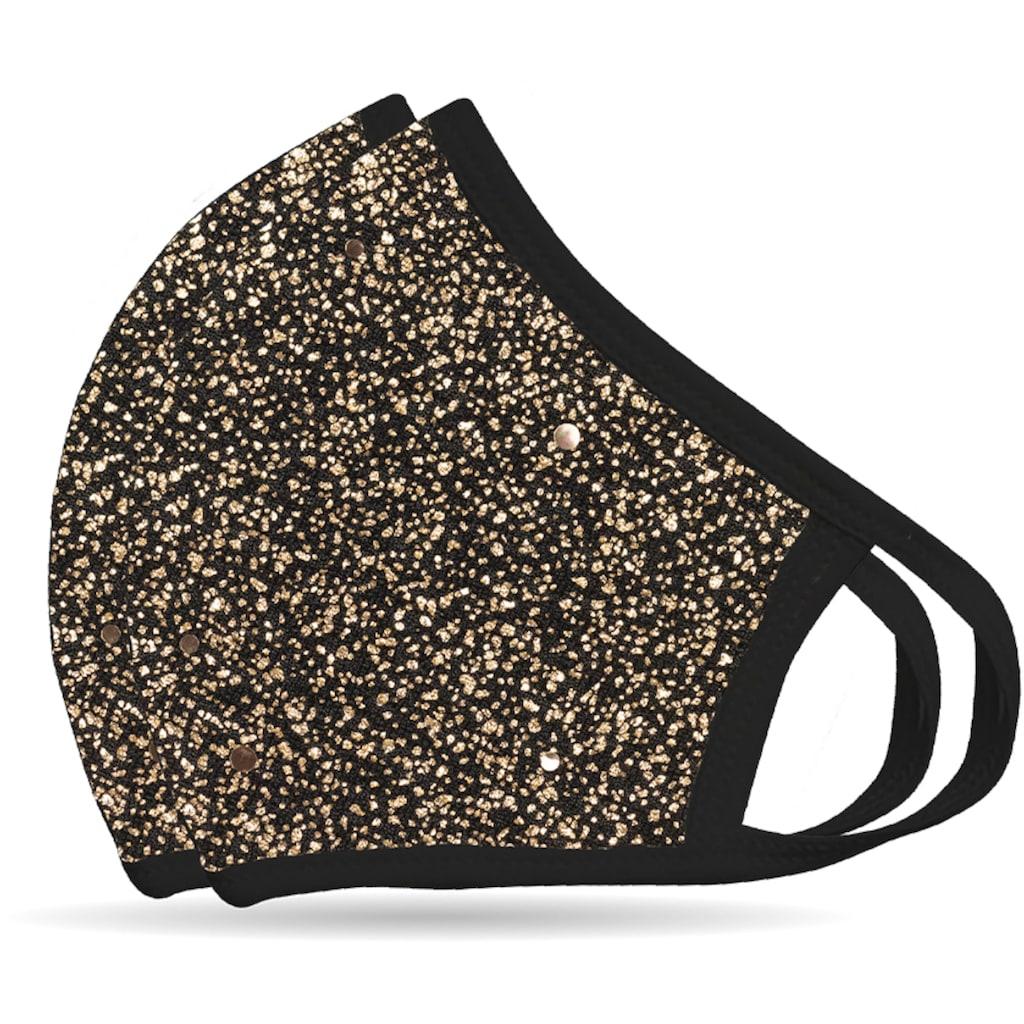 NEQI Mund-Nasen-Masken »Bronze Glitzer«, stylisch und festlich