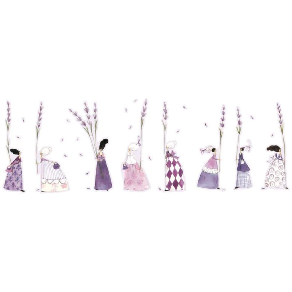 Wall-Art Wandtattoo »Lila Lavendel Blumen Mädchen«