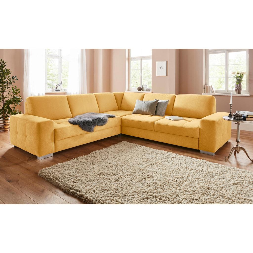 sit&more Ecksofa, mit Federkern und Sitztiefenverstellung, wahlweise mit Bettfunktion und Bettkasten