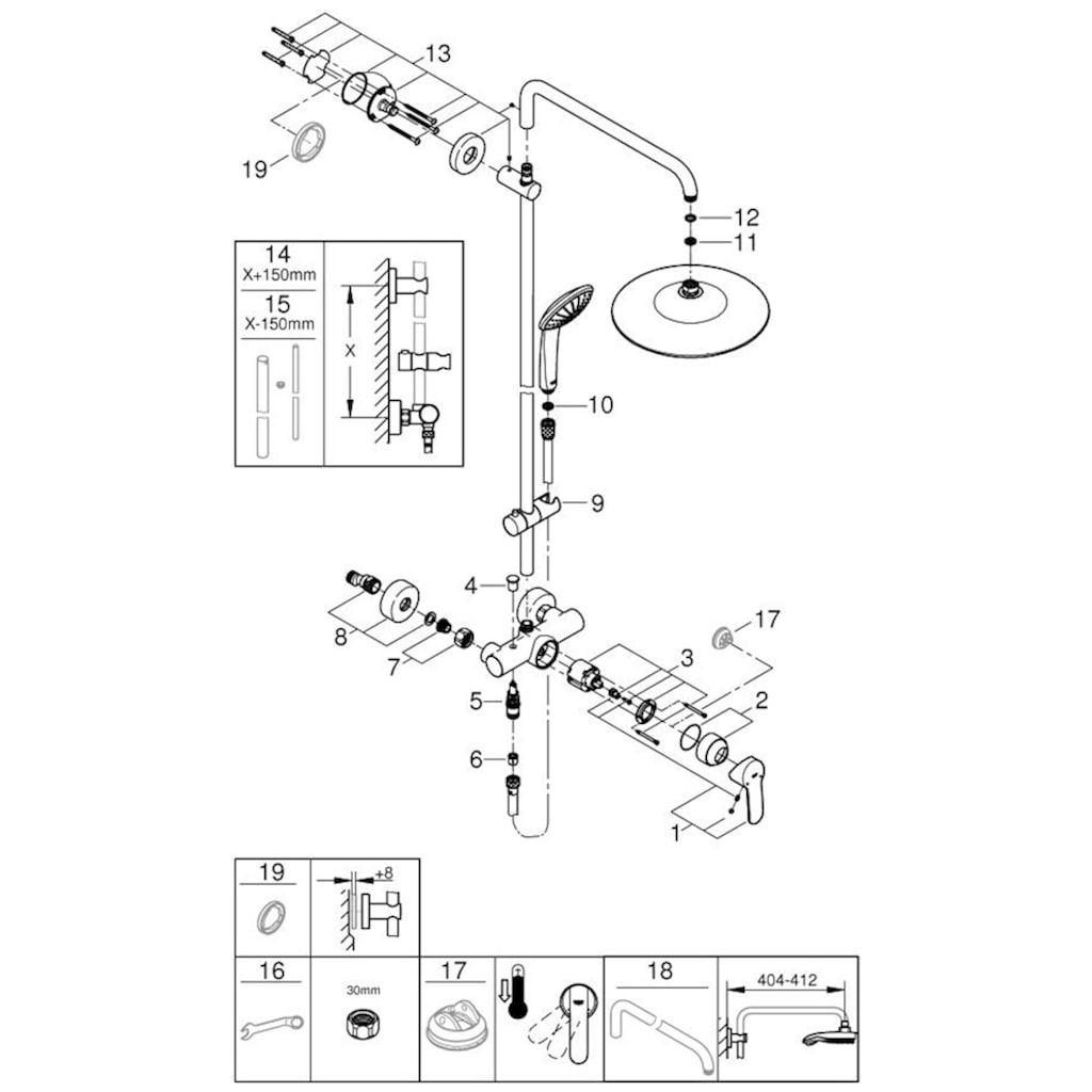 Grohe Brausegarnitur »Euphoria System 260«, für Wandmontage, mit Einhandmischer