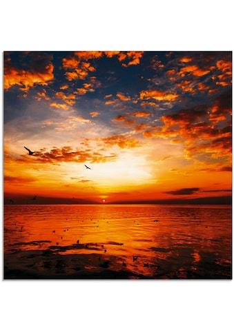 Artland Glasbild »Sonnenuntergang am Strand mit wunderschönem Himmel«, Sonnenaufgang &... kaufen