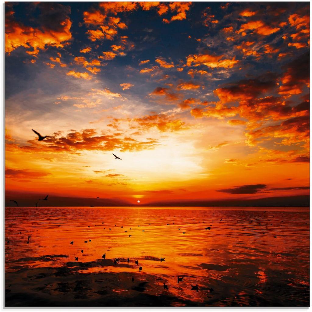 Artland Glasbild »Sonnenuntergang am Strand mit wunderschönem Himmel«, Sonnenaufgang & -untergang, (1 St.)